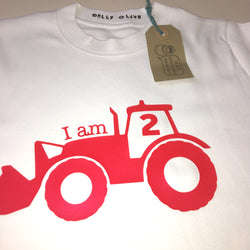 I Am 2 Tractor T Shirt Red