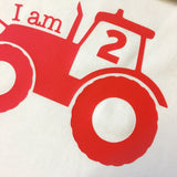 "'I am 2"" Tractor Tee: Red"