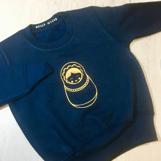 Russian Doll Kids Sweater: Navy