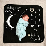 Starry Night Milestone Blanket: Baby Blue