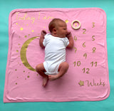 Starry Night Milestone Blanket: Pink