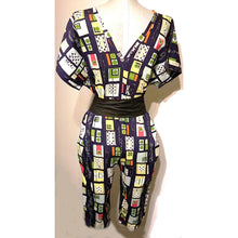 NEO80 Retro Capri Jumpsuit in 100% Cotton Vintage Print - Neo80Now