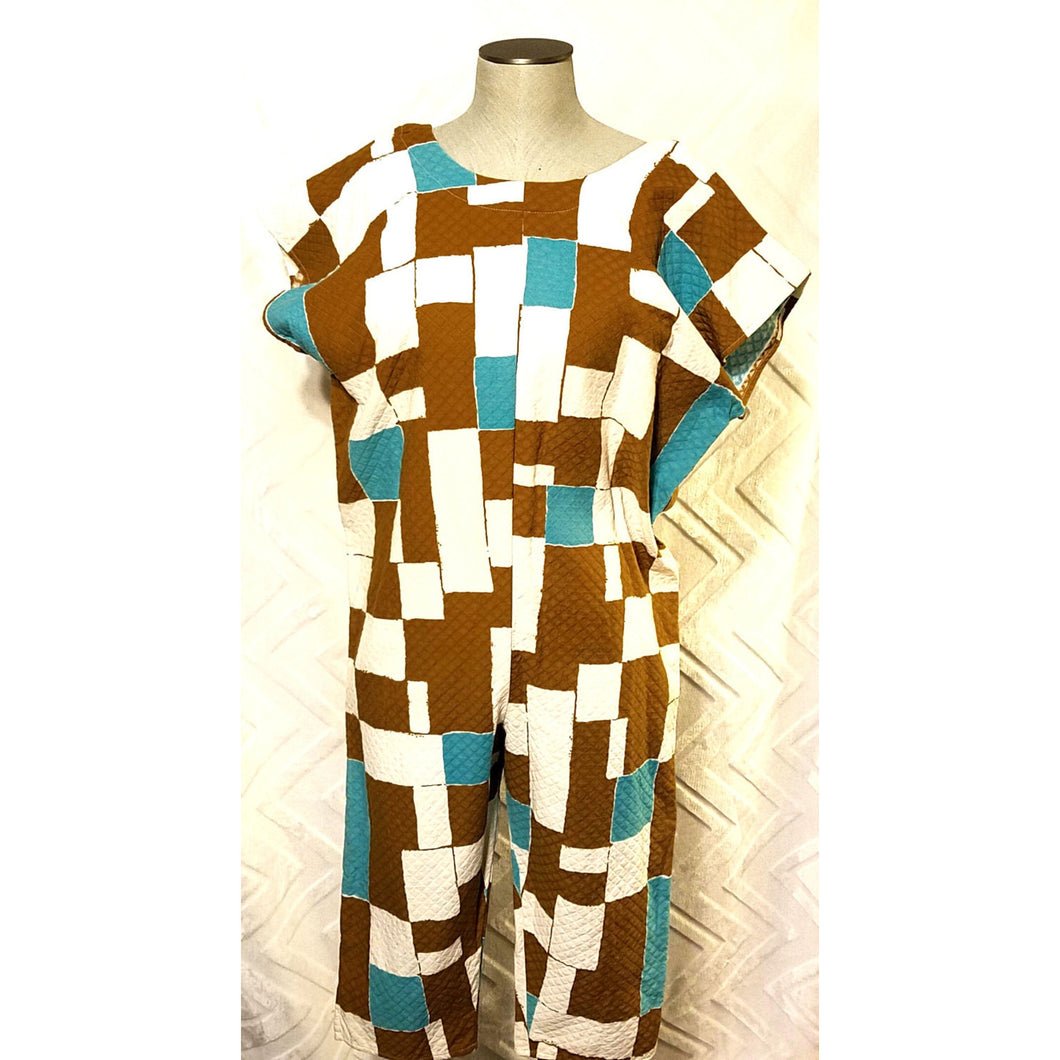 NEO80 Retro Capri Jumpsuit in 100% Cotton Vintage Woven Geometric Print - Neo80Now