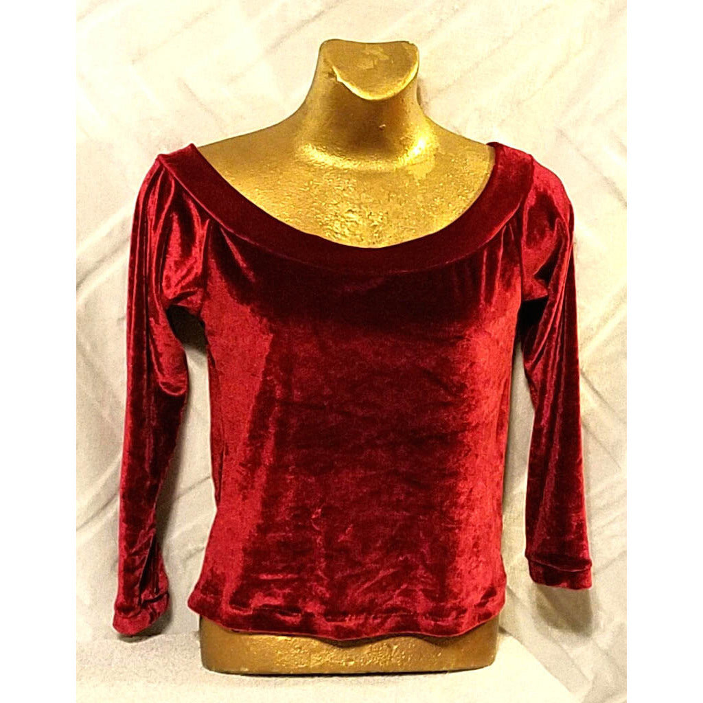 NEO80 Vintage Stretch Velour 3/4 SL Top - Neo80Now