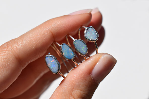 Turquoise Teardrop Silver Ring {US SIZE 6}