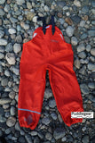 Puddlegear Kids Rain Pants in Red (bib, overall, shell style)