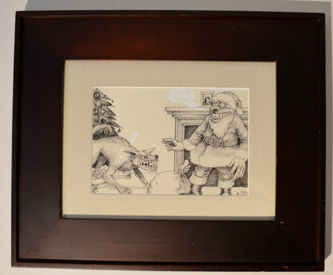 "Art : John Seabury Original Ink on Paper Xmas 1975 "" Good Doggy"""