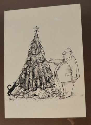 Art: John Seabury Original Ink on Paper. Xmas Card 1977 Spectacular!
