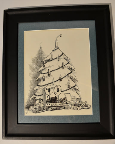 "Art : John Seabury Ink on Paper Original Xmas Card "" Studio Christmas"""