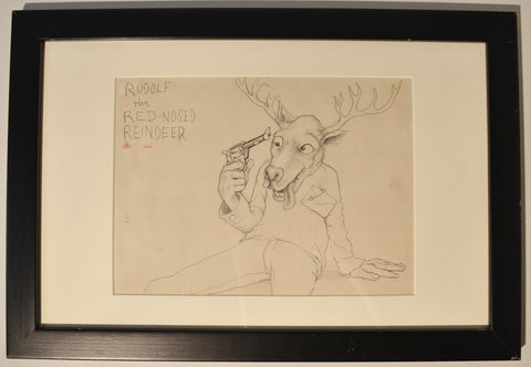 "Art : John Seabury Original Ink and Pencil Drawing Xmas ""Rudolf"""