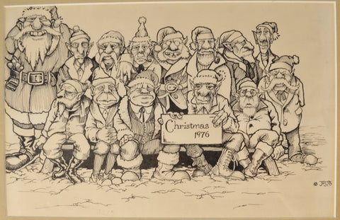 Art: John Seabury Original Ink on Paper 1976 Xmas Card Awesome!