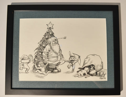"Art : John Seabury Original Ink on Paper Xmas 1982 "" Happy Little Indians"""
