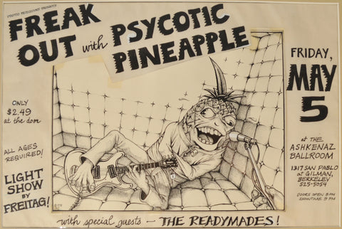 "Art : John Seabury Original Ink on Paper Psycotic Pineapple Poster "" The Padded Room"""