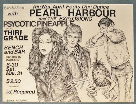 Art : John  Seabury Original Ink on Paper Poster Pearl Harbor and The Pyno 1979 Show