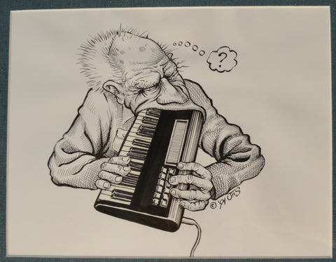 "Art: John Seabury Original Ink on Paper 1991 "" Man Meets Synthesizer"""