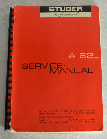 Studer A62 Service Manual