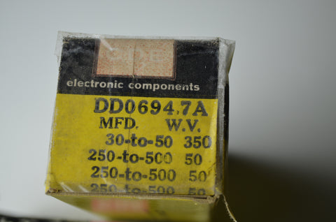 CDE Type DD0694.7A Electrolytic Multistage Capacitor N.O.S.