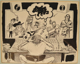 "Art :  Original John Seabury Ink On Paper ""The Recording Session"""