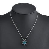 Blue Crystal Snowflake Flower Silver Necklaces & Pendants Jewelry