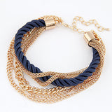 Charm Bracelet Gold Chain Braided Rope Multilayer