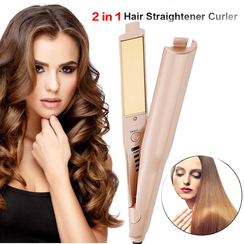Straightener and Curler 2 in 1 Ceramic Curling Flat Iron Pro for Hair Styling Tools