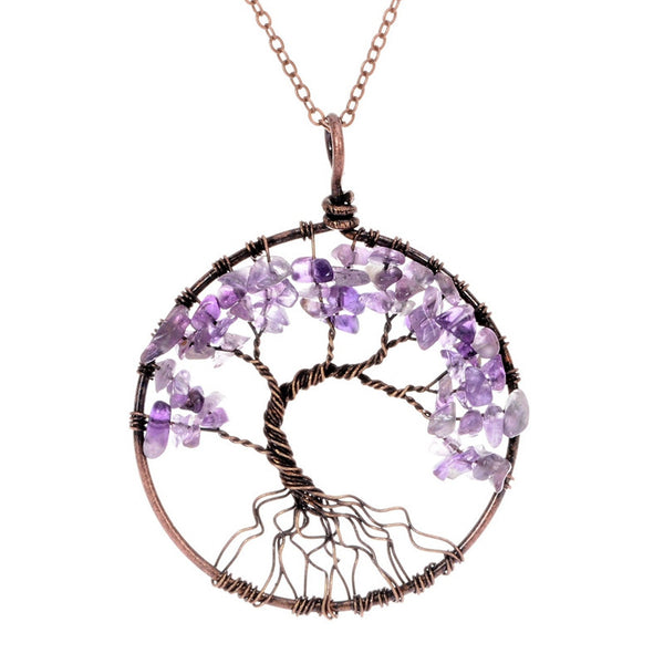 Tree Of Life Pendant Necklace Copper Rose Quartz Turquoise