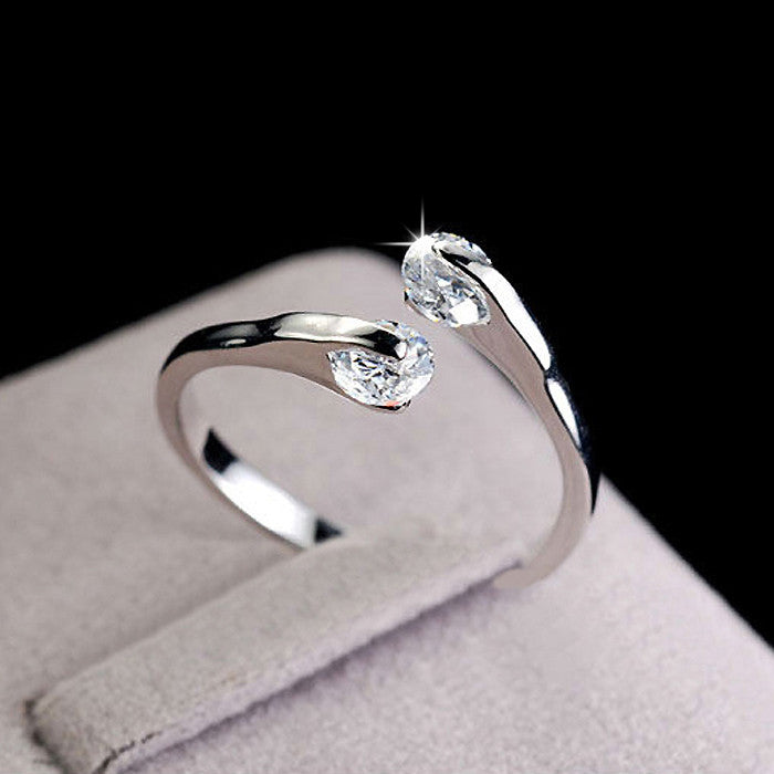 Wedding Rings for women open Rose gold plated Crystal rings