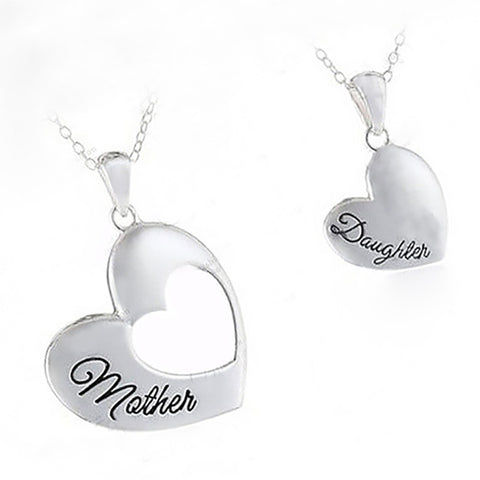 Heart Neckalces Jewelry Mother and Daughter Splicing Double Heart Pendant