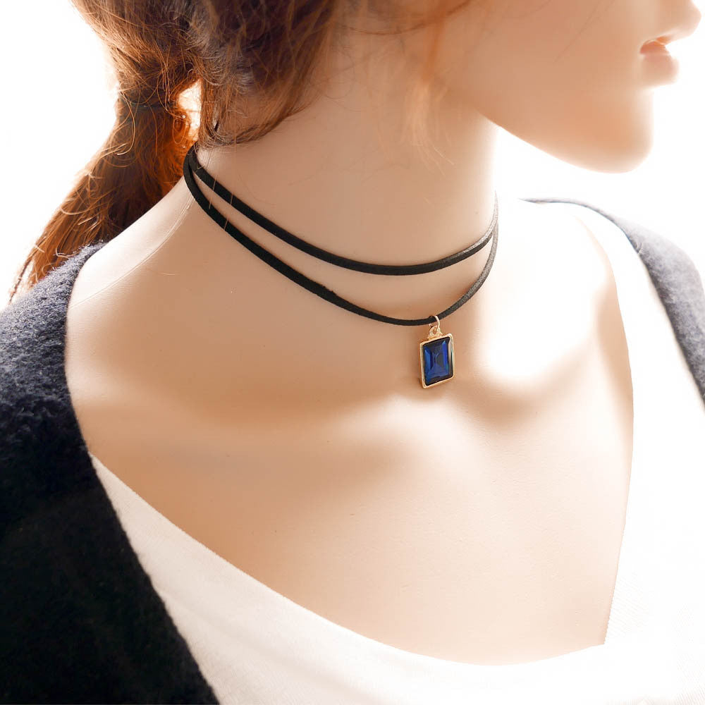 Choker Necklace MultiLayer Chain Black Leather