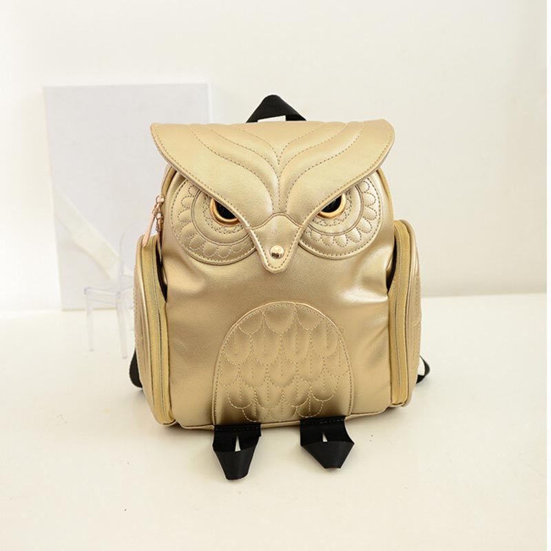 lovely owl leather backpack