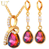 Jewelry Sets For Women Romantic Gift Luxury Gold Plated Earrings Necklace