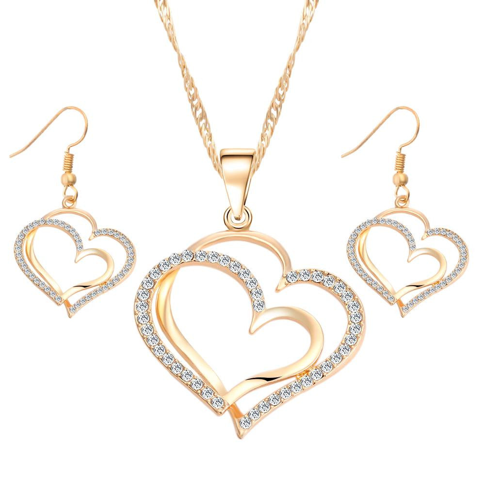 Heart Pattern Crystal Earrings Necklace Set Silver Color Chain Jewelry Sets