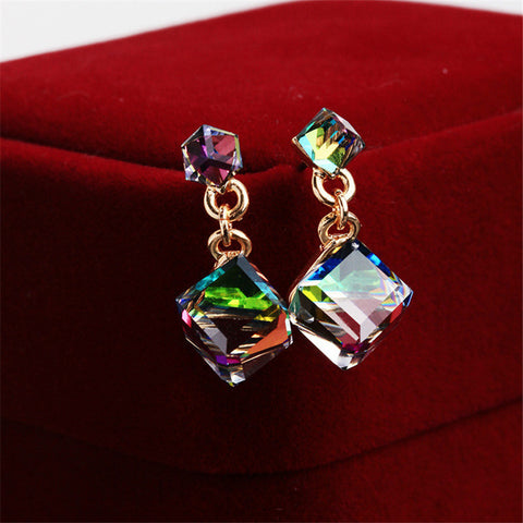 Double Square Crystal 18K Gold Plated Woman Earring