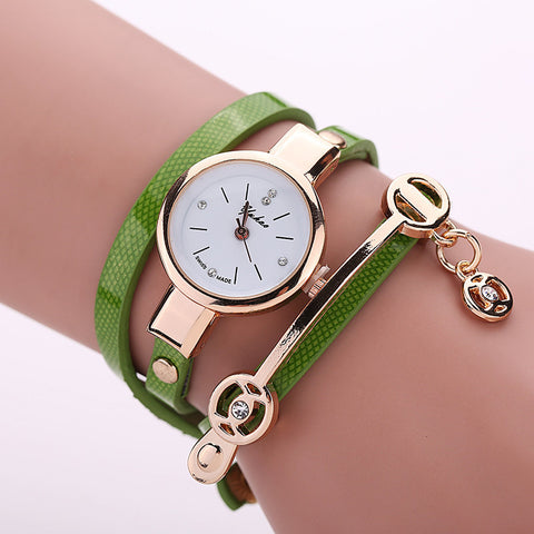 Creative Bracelet Watches For Women PU Leather Multi Layers Quartz