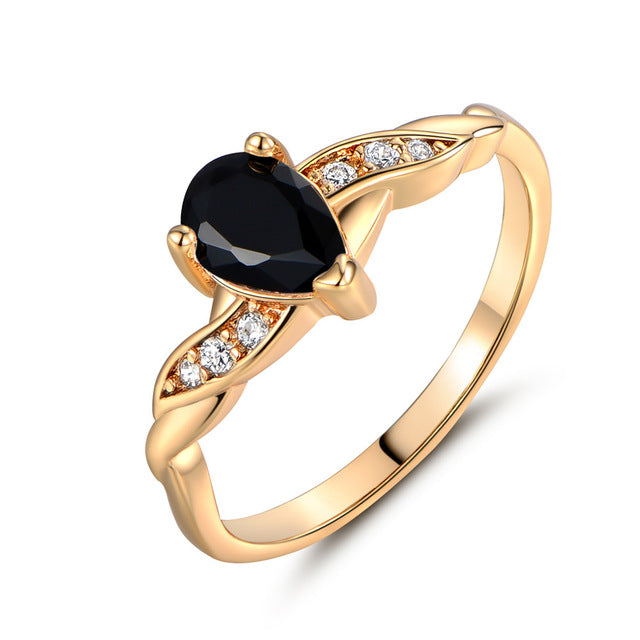 Rings Gold-Color Charming Water Drop Cubic Zirconia