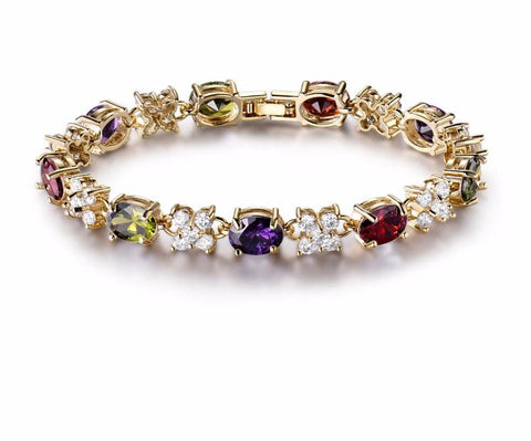 Beautiful Charm Bracelet Women High Quality Colorful Zironia Stones