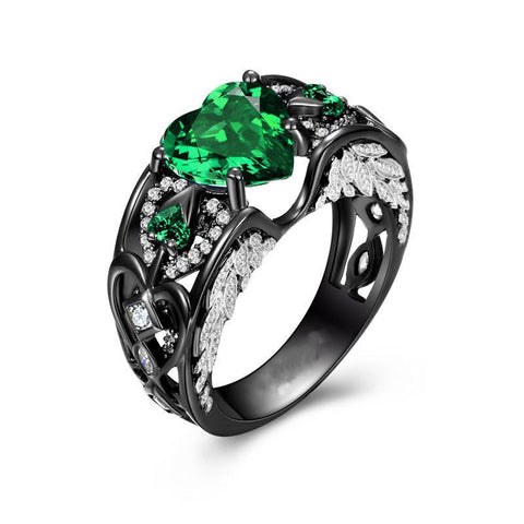 Black Gold Angel's Heart Emerald Ring