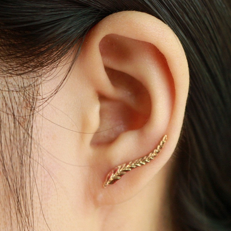 Spring Women's Gold Plated Leaf Earrings