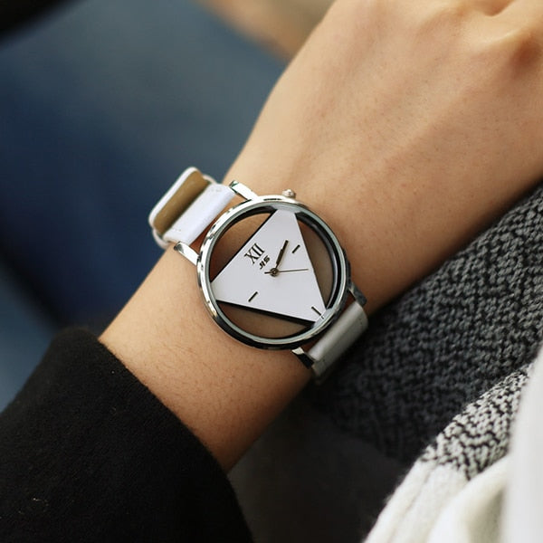 Creative triangle watch leather clock