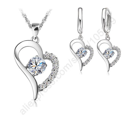 Platinum Plated Jewelry Sets  Heart Shaped Pendant Necklace Earrings Set