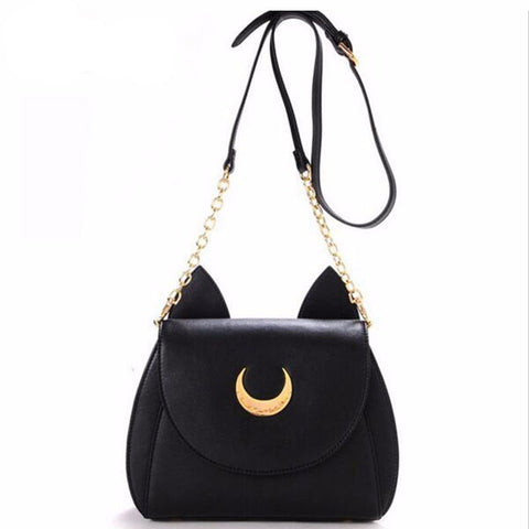 Chain Leather Handbag Ladies Luna Cat