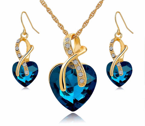 Gold Plated Jewelry Sets For Women Crystal Heart Necklace Earrings
