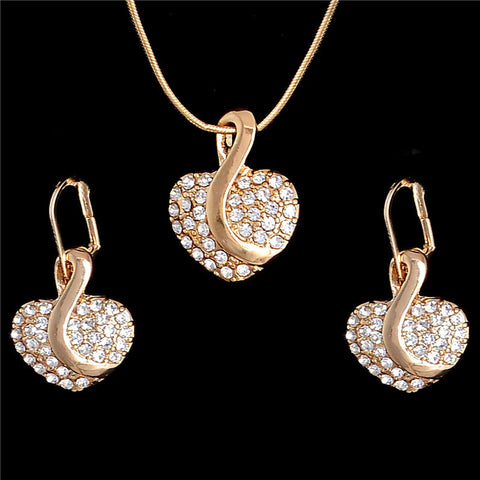 Necklace Earrings Gold plate Heart Crystal wedding jewelry sets