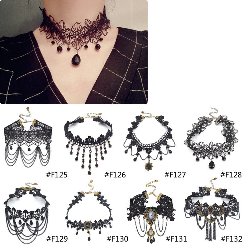 Crystal Tassel Tattoo Choker Necklace Black