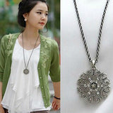 Flower Crystal Women Black Silver Necklace Long Chain