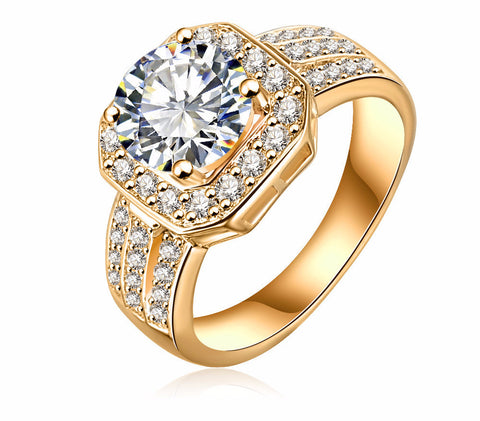 New Trendy Ring Gold  Square Shape  Ring Fine Jewelry Women