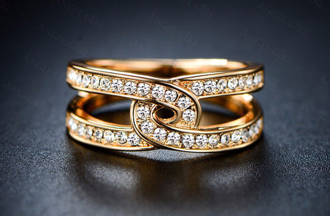Ring with high quality crystal Real Gold Plated Jewelry For Women