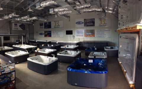 Spas and swim spas on display at Somersby showroom
