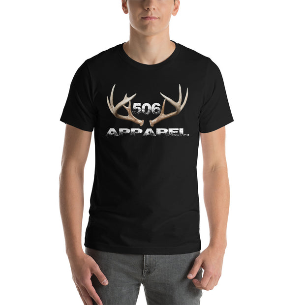 Short-Sleeve Unisex T-Shirt - 3D Antlers - White - 506 Apparel