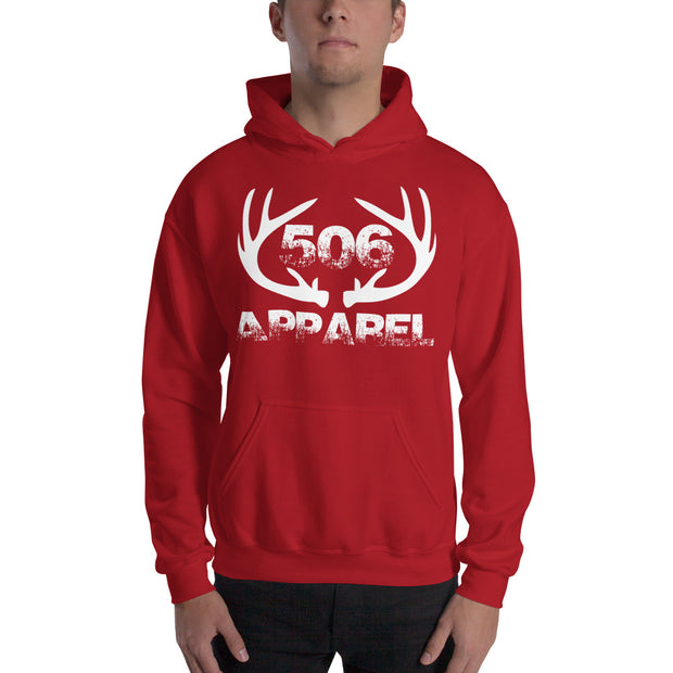 Hooded Sweatshirt - Flat Antlers - White - 506 Apparel
